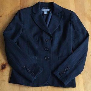 Ann Taylor 2-piece navy pinstripe wool suit, Sz 0